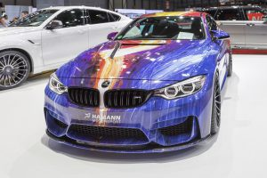 Geneva, Switzerland - March 4, 2015: 2015 Hamann BMW M4 presented the 85th International Geneva Motor Show