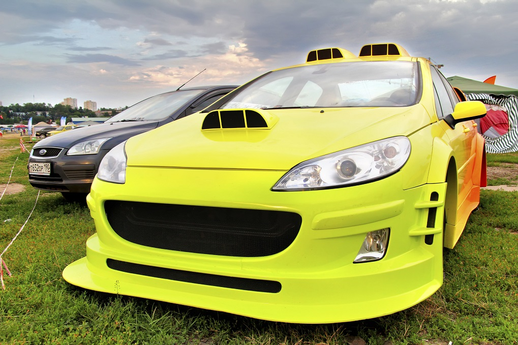 Moscow, Russia - July 6, 2012: Tuned french motor car Peugeot 407 exhibited at the annual International Motor show Autoexotica.